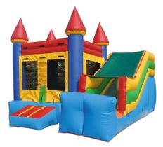 Castle Mini Slide as low as $149.00 a day dry or $189.00 a day wet. Includes a jumping area, climbing ramp and small slide.  Ideal for kids up to age 6. Unit diminsions 15w*18d