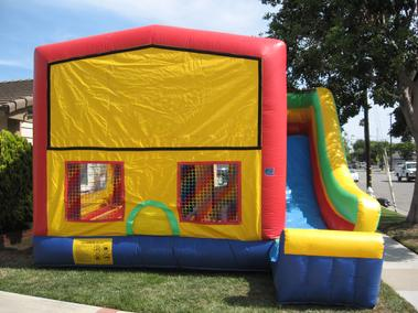 Panel 5 in 1 Combo includes large jumping area, basketball hoop, inflatable obstacles, climbing ramp, and steep slide. Rent this for as low as $219.00 a day dry or $249 a day wet. Unit dimensions are 20' by 23'.