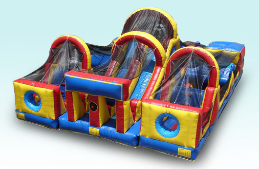 Adrenaline Rush obstacle course.  This unit features side by side obstacle courses with a double lane slide at the end.  Great for racing your friends.  This unit rents for as low at $499.00 per day. Unit dimensions are 40' long by 32  wide.